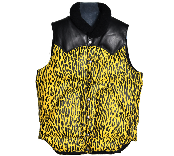 [WACKO MARIA x Rocky Mountain Featherbed] 13 AW YELLOW LEOPARD DOWN VEST [36]