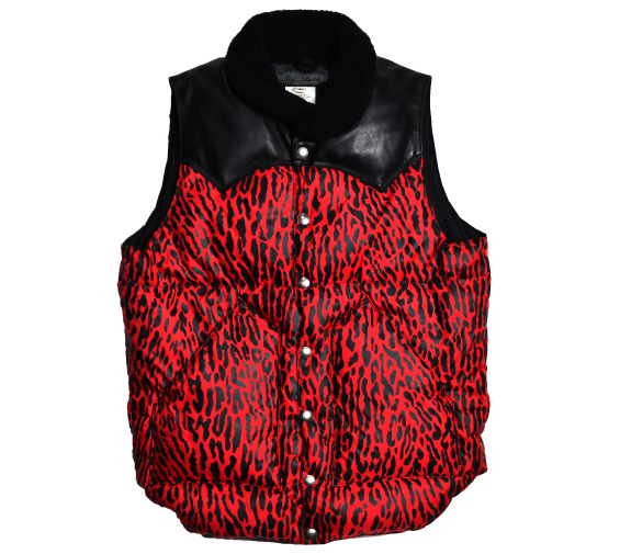 [WACKO MARIA x Rocky Mountain Featherbed]13 AW RED LEOPARD DOWN VEST [36]