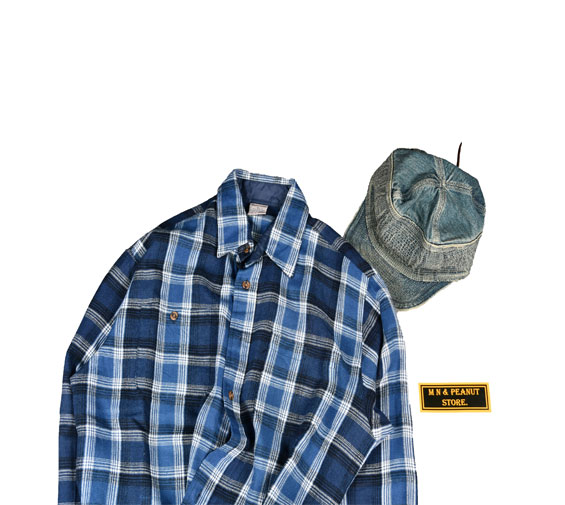 [None] Vintage Blue Check Shirts [M]