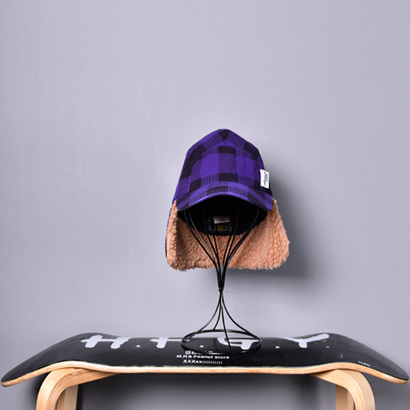 FAT TYO Vintage Purple tartan check trapper hat [F]