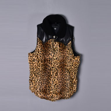 Wackomaria x Rocky Mountain Featherbed 13aw Calf skin leopard down vest [36]